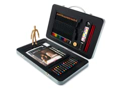 65-Piece Metal Case Art Set w/ Manikin