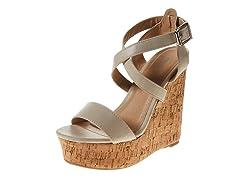 Carrini Strappy Wedge Sandal, Beige