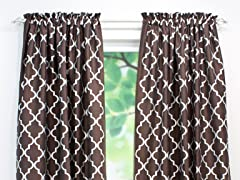 Decade Embroidered Rod Pocket Panel-Cocoa-3 Lengths