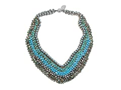 MaxColor Teal and Gold Beaded Statement Bib Necklace