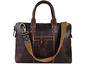 15-Inch Rugged, Distressed Leather Laptop Bag