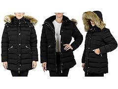 Women's Parka with Detachable Fur Hood