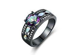 Opal Rhodium Ring
