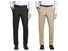 Men's Slim Fit Belted Dress Pants 2Pk
