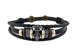 Men's Leather Fleur de Lis Bracelet