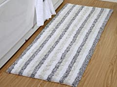 Oversized Stripe Textured Bath Rug