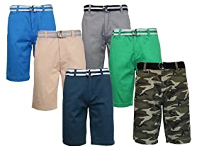 Galaxy by Harvic Men's 2-Pack Cotton Belted Shorts