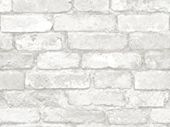 Grey and White Brick Peel & Stick Wallpaper