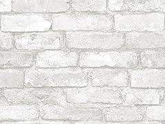 Grey and White Brick Peel & Stick Wallpaper