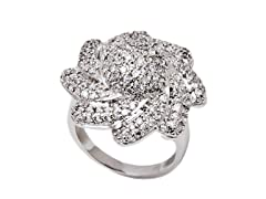 Rhodium Plated and Simulated Diamond Flower Ring