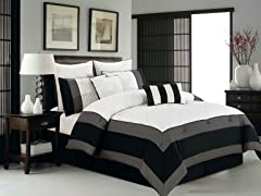 Aspen Hotel 8Pc Set-White/Black-2 Sizes