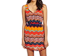 Trixxi Juniors Print Dress with Belt, Multi