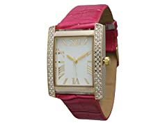 Embossed Rectangular Leather Watch