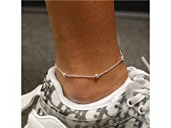 Sterling Silver Bead Oval Bead Anklet 9