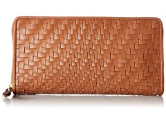 Cole Haan Genevieve Leather Woven Zip Around Continental Wallet