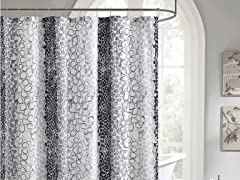 Bahati Embossed Shower Curtain-Grey/Black