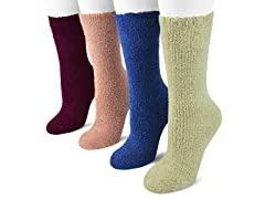 "MUK LUKS® Women's 8"" Micro Chenille 4 Pair-Pack Socks"