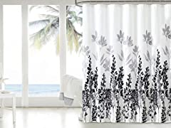 Mirage Embossed Shower Curtain - Blk/Wht