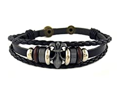 Leather 3 Row Fleur De Lis Bracelet
