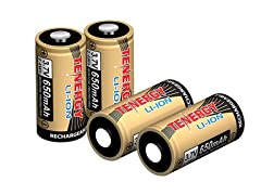 Tenergy 3.7V Arlo 650mAh 16340 Batteries