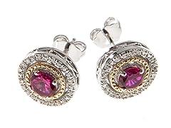 Silver & 14k Gold Ruby Earrings
