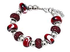 SS Murano Bracelet w/ Red-Mix Charm