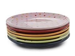Classic Coffee & Tea Polka Dot Dessert Plates - Set of 6