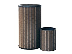 2PC Rd Hamper and Wastebasket Set - Brown/Blk