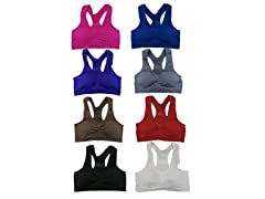 6Pk Solid Color Mesh Sports Bras
