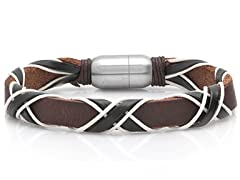 Leather Bracelet w/ White Rope Accent