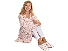 Women's Cozy Fleece Blanket with Slipper