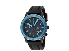 Men's Black/Blue Silicone Chronograph
