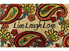 Paisley Live Laugh Love Weather-Resistant Outdoor Coir Doormat