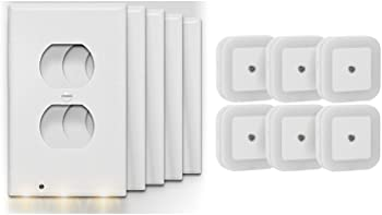 Above Edge OCL5 5-Pk. Outlet Plates + 6-Pk. LED Nightlight Bundle