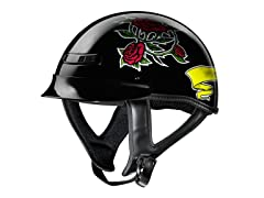 GLX Black Rose Half Helmet