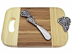 Thirstystone Bamboo Grape Mini Serve Board w/Spreader