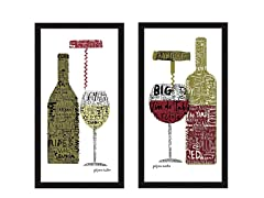 Red & White 2PC Set Framed 15x27