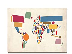 Abstract Shapes World Map  18x24 Canvas