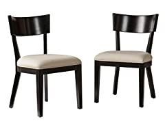 Paolo Dining Chairs 2pc Set - Black w/Cream