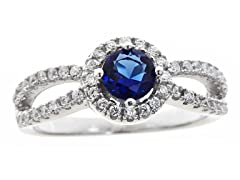 Dark Blue Simulated Diamond Ring