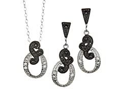 Black/White Marcasite Music Note CZ Set