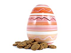 Pink Easter Egg Cookie Jar with 2 8oz Choc Chip Coolers