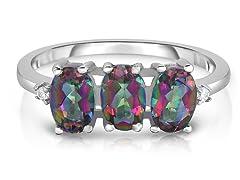 3.00 CTTW Genuine Mystic Topaz Ring