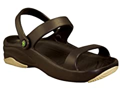 Women's Premium 3-Strap Sandal, Black / Tan