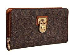 Michael Kors Hamilton Signature  Zip Around Continental, Brown PVC