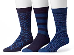 Muk Luks Men's 3 Pair Pack Socks, Navy
