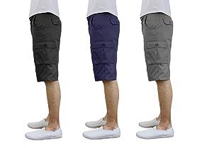 Men's 3-Pack Belted Modern Cargo Shorts