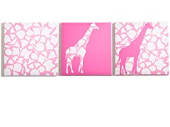 Rose Giraffe Walk Canvas- Set of 3