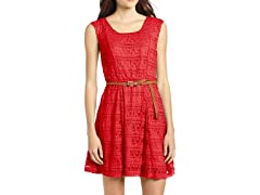 Trixxi Juniors Skater Lace Dress, Coral