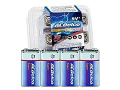 9 Volt Alkaline Batteries - 4 Pack